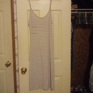 Tan and white striped dress